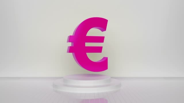 pink loopable euro symbol on white background - british pound sterling note stock videos & royalty-free footage