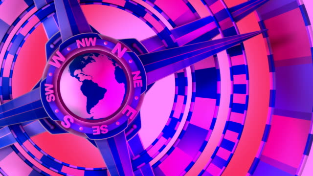 Pink, Loopable, Global Compass Rose with World and Cardinal Points
