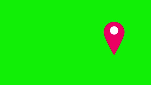 pink map pins pointer on green background. - map pin icon stock videos and b-roll footage