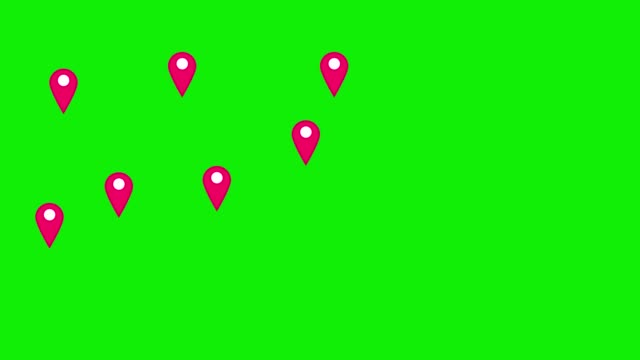 vídeos de stock e filmes b-roll de pink map pins pointer on green background. - pilot