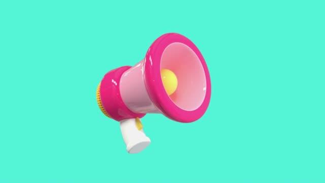 pink megaphone cartoon style 3d rendering motion - megaphone stock videos & royalty-free footage
