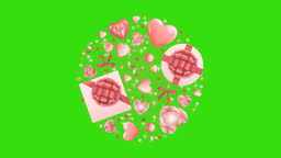 Pink Objects Round Pattern with Glitter Looping Animation