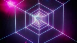 Pink Retro Hexagon Grid Tunnel and Distant Planets in Space
