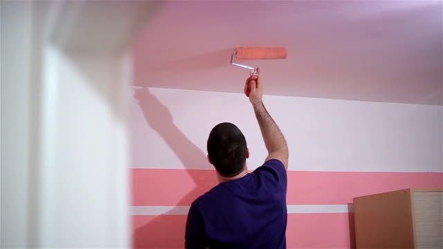 pink room - painting activity stock videos & royalty-free footage