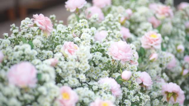 結婚式でピンクのバラと白い花 - フローリスト点の映像素材/bロール