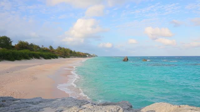 pink sand beach bermuda - bermuda stock videos & royalty-free footage
