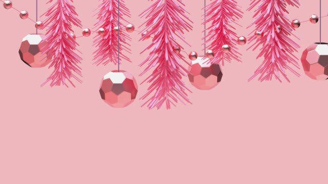 pink scene 3d render motion abstract metallic object ornament christmas concept - pink colour stock videos & royalty-free footage