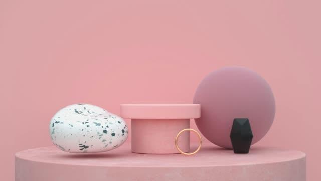 vídeos de stock, filmes e b-roll de rosa cena abstrata forma 3d renderização movimento - dourado descrição de cor