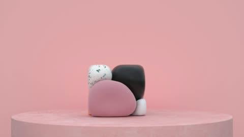 rosa szene abstrakte form 3d rendering bewegung - rohmaterial stock-videos und b-roll-filmmaterial