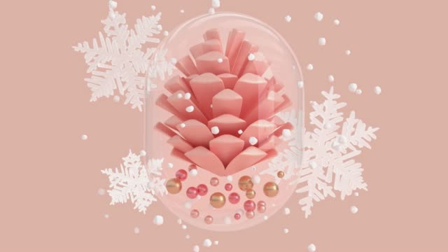 pink scene abstract winter concept snowing glass jar pine cone 3d rendering - pigna strobilo video stock e b–roll