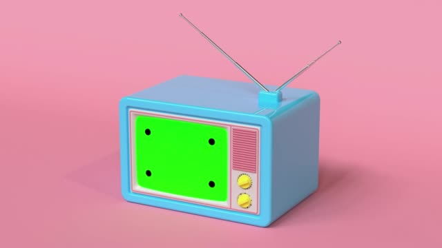 pink scene blue television blank green screen cartoon style 3d rendering - yellow stock videos & royalty-free footage