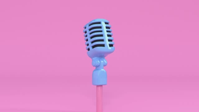 pink scene cartoon style microphone and music note levitation 3d rendering music entertainment concept - still life stock videos & royalty-free footage