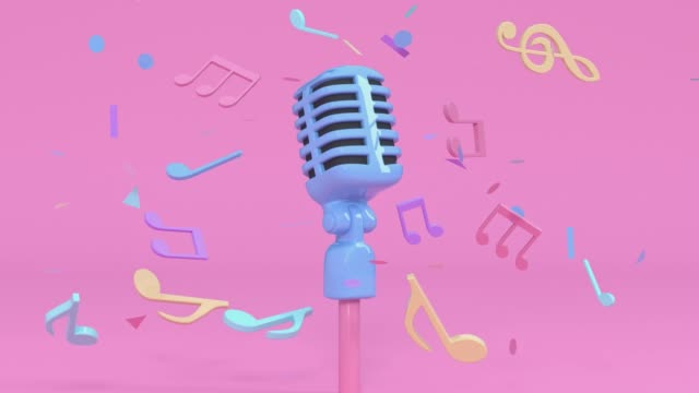 pink scene cartoon style microphone and music note levitation 3d rendering music entertainment concept - still life video stock e b–roll