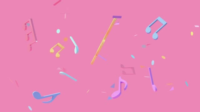 pink scene colorful music notes levitation 3d rendering - musical instrument stock videos & royalty-free footage