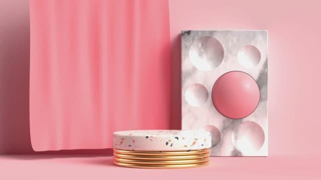scena rosa cerchio tenda marmo podio movimento astratto rendering 3d - marmo roccia video stock e b–roll