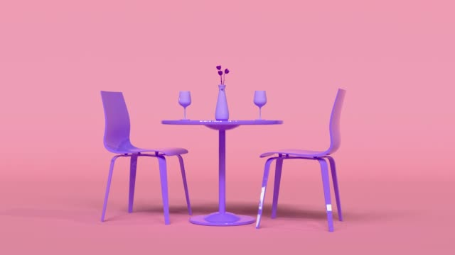 vídeos de stock e filmes b-roll de pink scene purple/violet table chair food drink restaurant dinner concept 3d rendering - cadeira