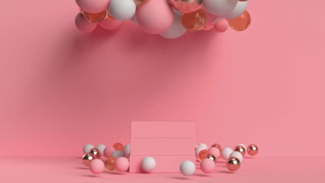 pink scene wall floor geometric shape sphere balloon levitation 3d rendering motion - digital animation stock videos & royalty-free footage