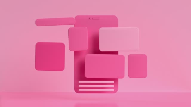 pink smartphone screen user interface levitation 3d render motion - still life stock videos & royalty-free footage