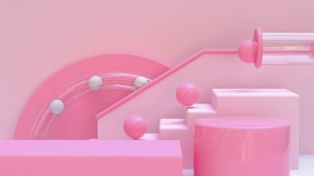 pink staircase ball drop abstract geometric motion loop 3d rendering - group of objects stock videos & royalty-free footage