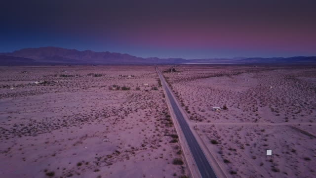 Pink Sunset Over the Desert - Drone Shot
