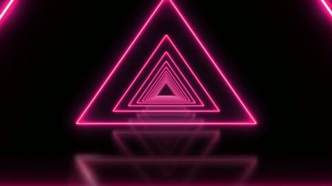 vidéos et rushes de triangle rose abstrait en boucle tunnel de fond - infini