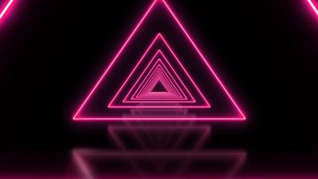 stockvideo's en b-roll-footage met roze driehoek abstract lus achtergrond tunnel - driehoek