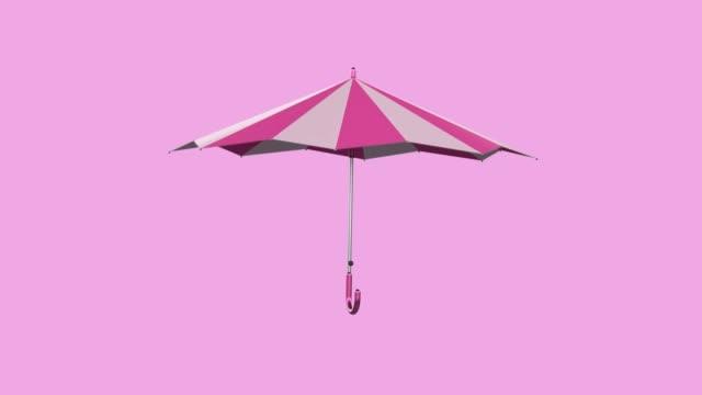 vídeos y material grabado en eventos de stock de paraguas rosa flotante movimiento abstracto 3d renderizado - paraguas
