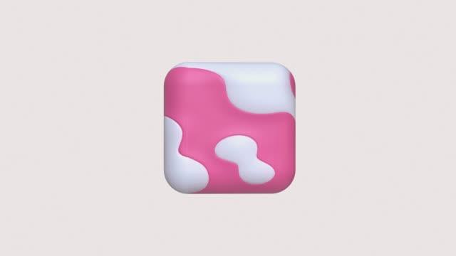 vídeos de stock, filmes e b-roll de textura rosa branco forma geométrica 3d movimento de renderização - elemento de desenho
