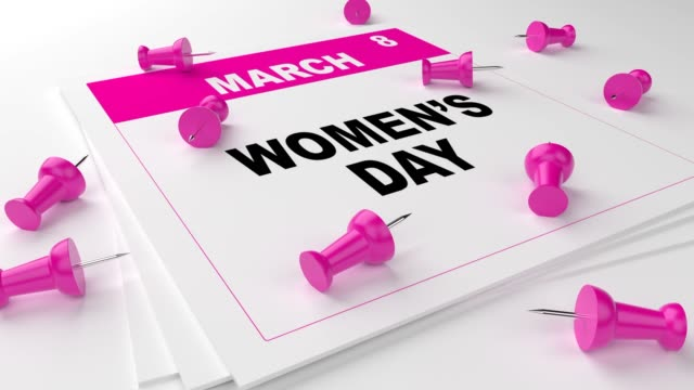 pink women's day calendar with pink pins on white background - 2019 stock videos and b-roll footage