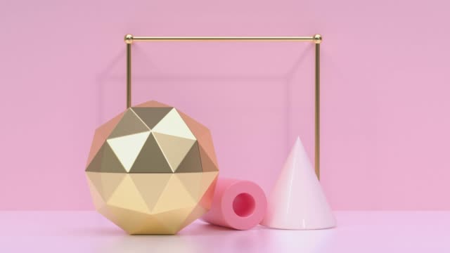 pink/soft pink gold metallic geometric shape minimal scene floor wall abstract 3d rendering motion - shape stock videos & royalty-free footage