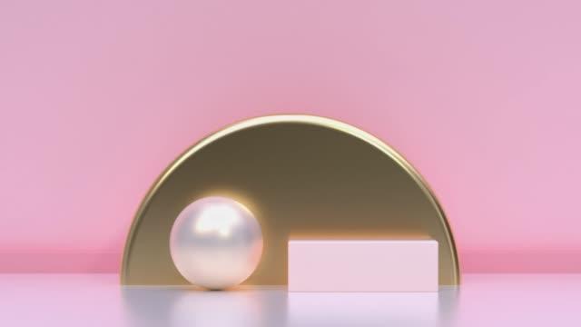 pink/weiches rosa gold metallisch geometrische form minimale szene boden wand abstrakt 3d rendering bewegung - unendlichkeit stock-videos und b-roll-filmmaterial