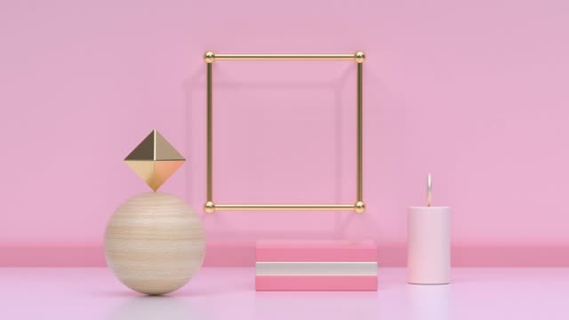 pink/soft pink gold metallic geometric shape minimal scene floor wall abstract 3d rendering motion - pastel stock videos & royalty-free footage