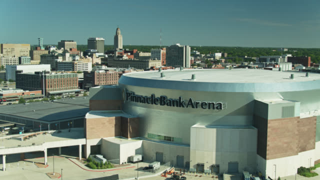 pinnacle bank arena with downtown lincoln in background - western script stock videos & royalty-free footage