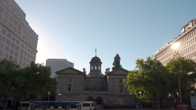 pioneer courthouse with a max train arriving at the front - portland oregon stock videos & royalty-free footage