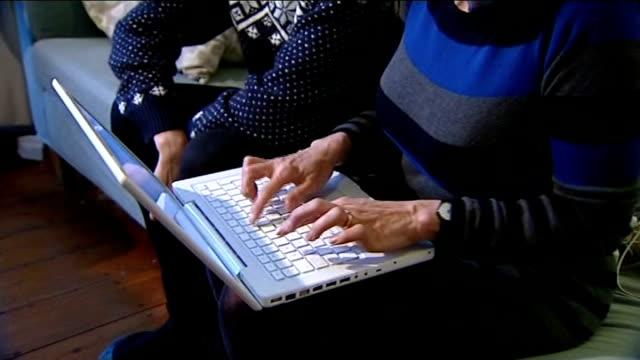 vídeos y material grabado en eventos de stock de pioneer professor sir robert edwards dies; london: various of kate brian sitting at laptop computer with her son alfie kate brian interview sot - ivf... - esterilidad
