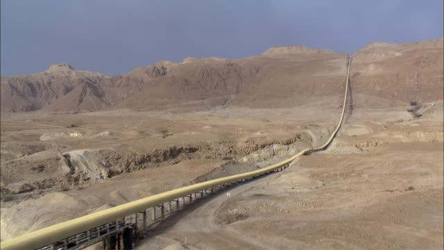 aerial pipeline crossing judea desert, israel - extreme terrain stock videos & royalty-free footage