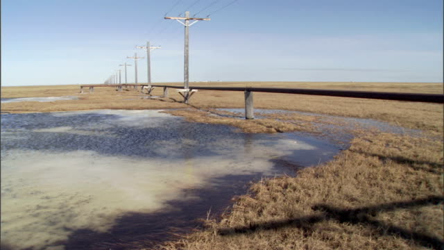 pipelines and utility poles extend past an icy tundra lake. - frozen water stock videos & royalty-free footage