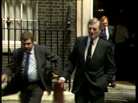 background b england london downing st no 10 ms cecil parkinson out through door of no 10 and along towards intvw sof well the whole be affected - alpha cell stock videos & royalty-free footage