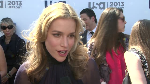 interview piper perabo on season 4 of covert affairs keeping it sexy and living in ny at usa network 2013 upfront event at pier 36 on may 16 2013 in... - season 4 stock videos and b-roll footage