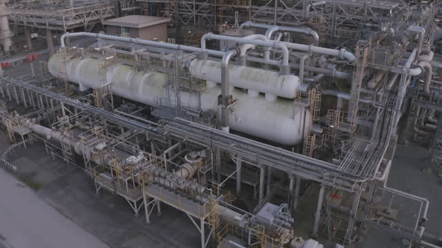 pipes of natural gas terminal - storage tank stock videos & royalty-free footage