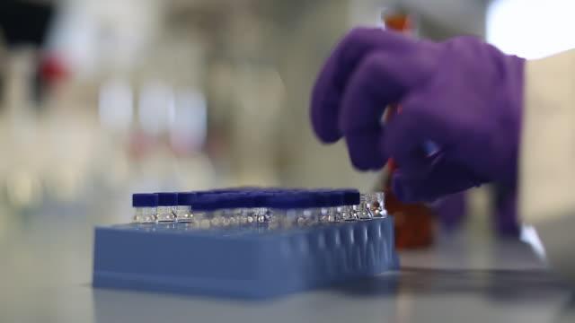 pipette filling a vial with liquid - pallone di vetro video stock e b–roll