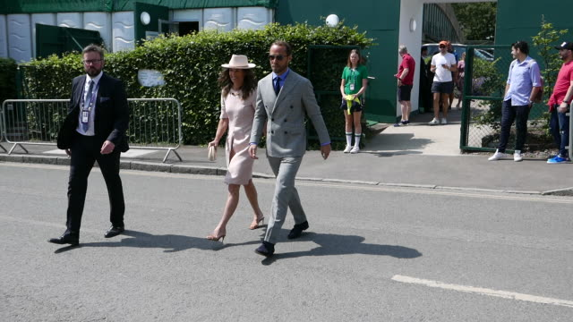 pippa middleton and james middleton attends day 7 of the wimbledon 2019 tennis championships at all england lawn tennis and croquet club at celebrity... - celebrity sightings stock videos & royalty-free footage