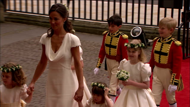 Pippa Middleton and the younger bridesmaids and page boys arrive at Westminster Abbey Available in HD