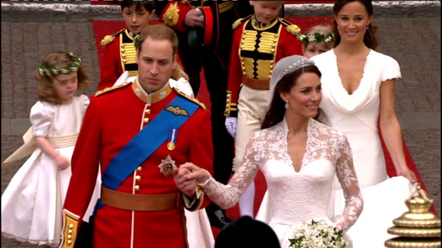 pippa middleton gives first ever tv interview; lib westminster abbey: duke and duchess of cambridge walk along red carpet from abbey entrance as... - horsedrawn stock videos & royalty-free footage