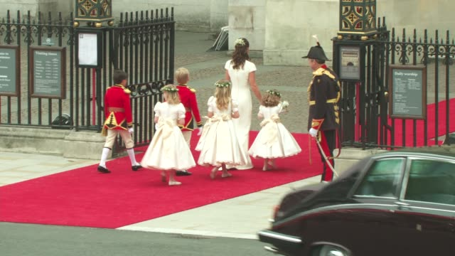 Pippa Middleton Page boys and Bridesmaids arrive at Westminster Abbey at the Royal Wedding Arrivals Westminster Abbey B Camera at London England