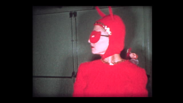 1964 pirate and devil costumes at party - verkleidung kleidung stock-videos und b-roll-filmmaterial