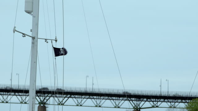 Pirate flag on sailboat