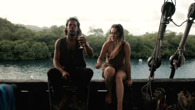 pirate lifestyle in the caribbean - territori francesi d'oltremare video stock e b–roll