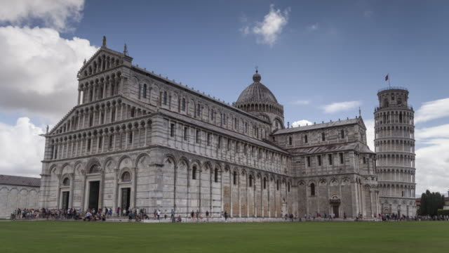 pisa cathedral and the leaning tower in piazza dei miracoli. - pisa cathedral stock videos & royalty-free footage