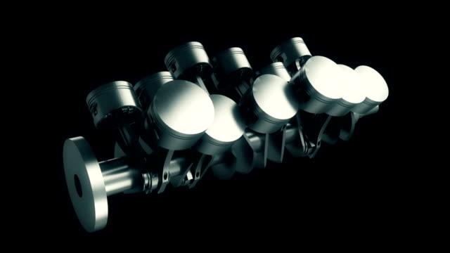 v12 piston and crank animation - piston stock videos & royalty-free footage